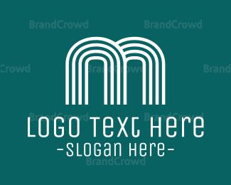 Contemporary - Striped Blue Letter M logo design