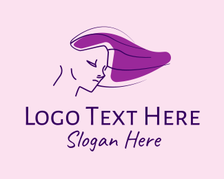 Shampoo - Purple Hair Lady logo design