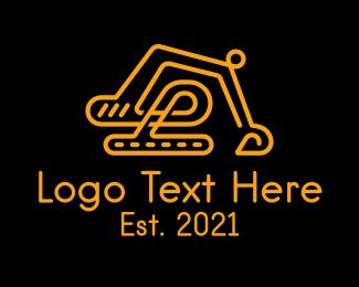 Excavator - Yellow Construction Excavator logo design