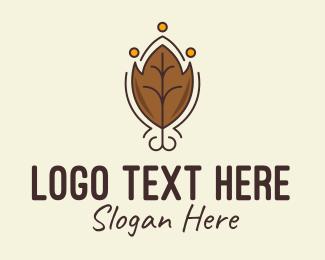 Dry Leaf - Brown Autumn Leaf logo design