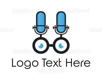 Speaker - Microphone & Eyeglasses logo design