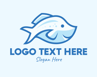 Salmon - Blue Trout Fish logo design