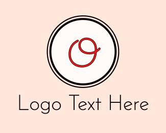 Signature - Red Cursive Letter O logo design