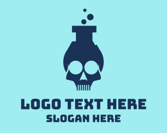 Toxic - Blue Lab Skull logo design