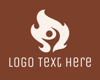 Fire - White Hot Fire Man logo design