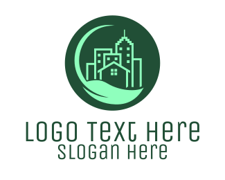 Land Development - Eco Green City  Buildings logo design