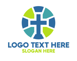 Bible Study - Mosaic Cross Badge logo design