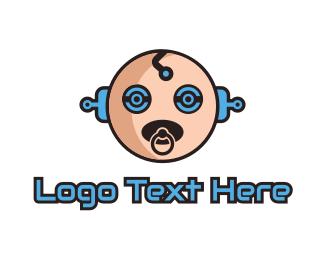 Artificial Intelligence - Robot Baby Manchild logo design