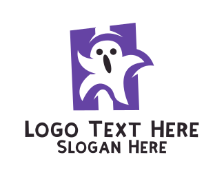 Ghost - Halloween Ghost Letter H logo design