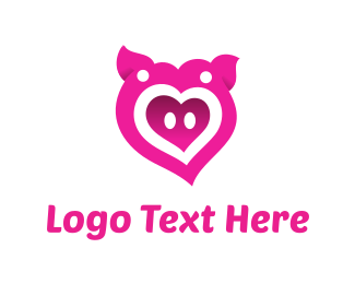 Pig - Pink Pig Love Heart logo design