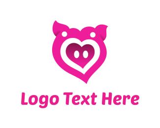 Pork - Pink Pig Love Heart logo design
