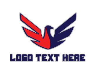 """Red Blue Bird Shield"" by LogoBrainstorm"