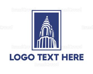 Building - Blue Chrysler Building  logo design