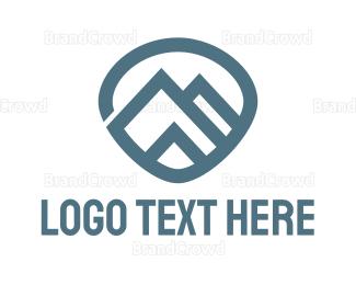 Countryside - Blue Modern Mountain logo design