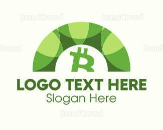 Crypto - Green Bitcoin Arc logo design