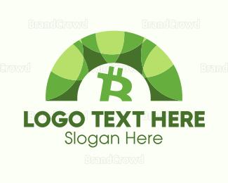 Blockchain - Green Bitcoin Arc logo design