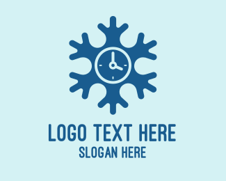 Hour - Blue Snow Clock logo design