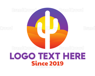 Cactus - Desert Sun Badge logo design