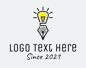 Intelligent - Lightbulb Pen Learning logo design