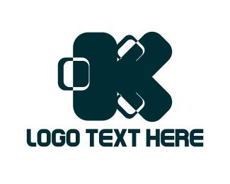 Suitcase - Blue Letter K logo design