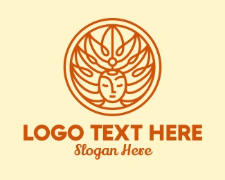 Crown - Orange Nature Goddess logo design