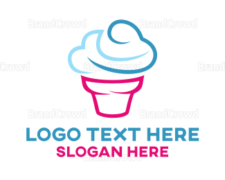 Ice Cream - Blue Cone logo design