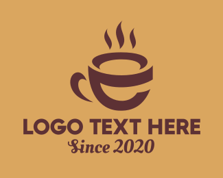 Hot Coffee - Hot Coffee Letter E  logo design