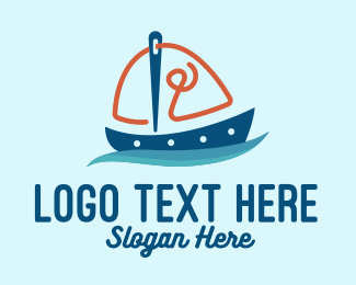 Thread - Sewing Needle Sailing Boat logo design
