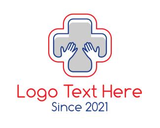 Blood Bank - Medical Hands Cross logo design