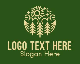 Camp Site - Sunny Pine Forest  logo design