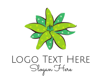 Lotus - Green Flower Spots logo design