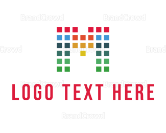 Bitmap - Colorful Letter M logo design