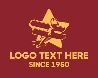 World War - Vintage Star Plane logo design