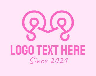 Typography - Pink Cursive Letter M logo design