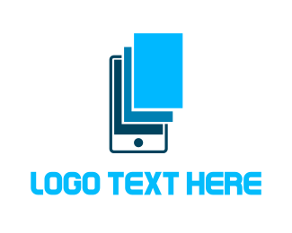 Cell Phone - Blue Phone Screen logo design