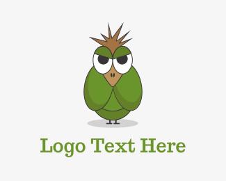 Illustrative - Angry Green Bird logo design