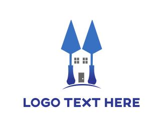 House Painter - Blue Spatula Home logo design