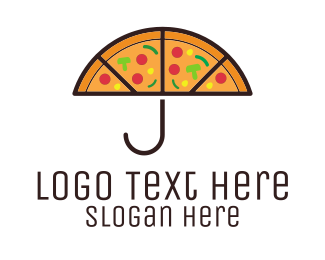 Rain - Umbrella & Pizza logo design