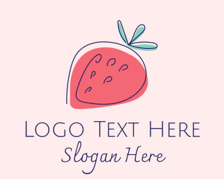 Grocery Store - Simple Strawberry logo design