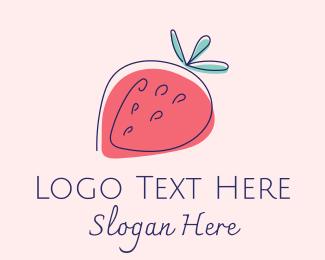 Strawberry - Simple Strawberry Line Art logo design