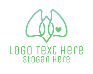Oxygen - Green Abstract Lungs logo design