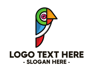 Macaw - Geometric Colorful Parrot logo design