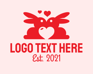 Love Letter - Red Bunny Valentine logo design