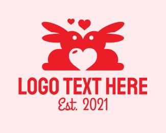 Valentine - Red Bunny Valentine logo design
