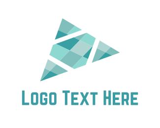 Plane - Crystal Triangle logo design