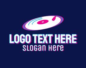 App - Glitchy Turntable Record logo design
