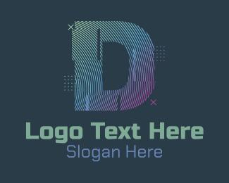 K - Modern Glitch Letter D logo design