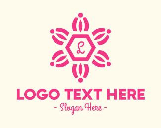 """Pink Floral Lettermark"" by royallogo"