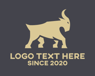 Ram Horns - Brown Mountain Goat logo design