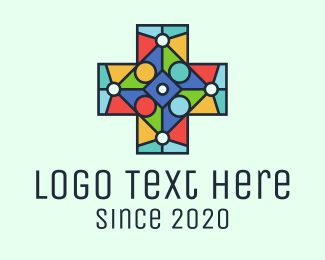 Orange Cross - Colorful Stained Glass Cross logo design